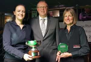 Last year's finalists Emma Bonney and Eva Palmius with sponsor Mark Pears from LITEtask