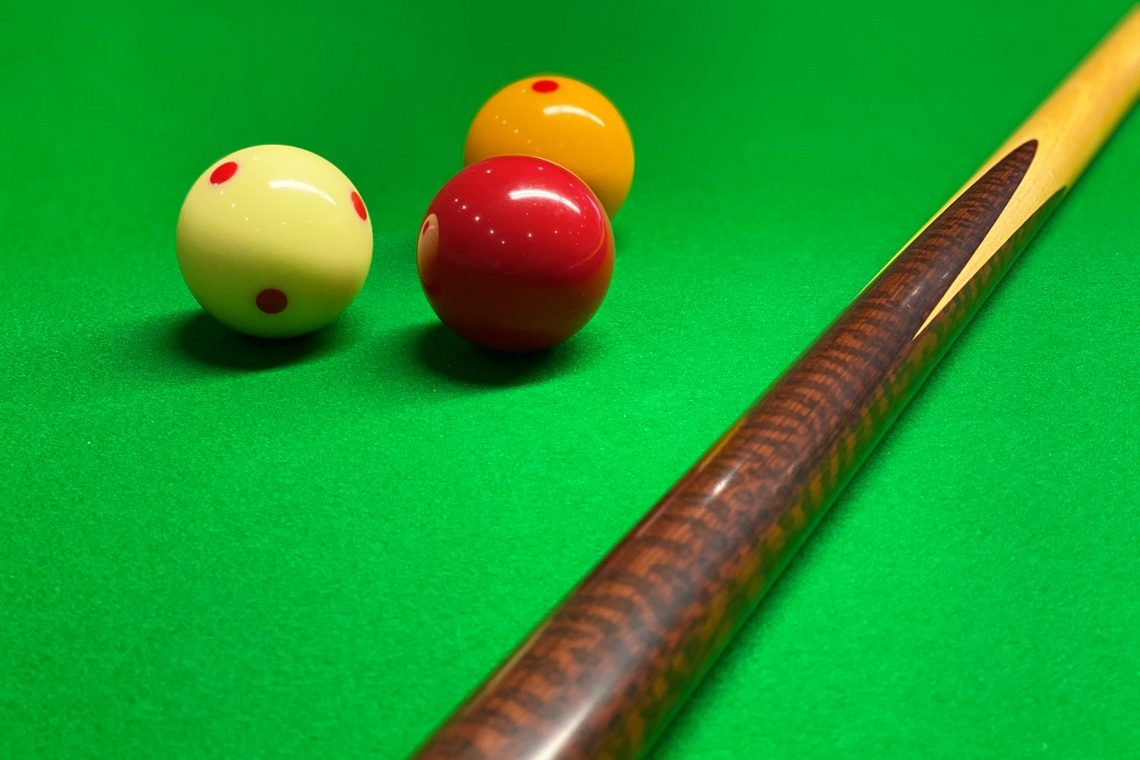 Balls and cue