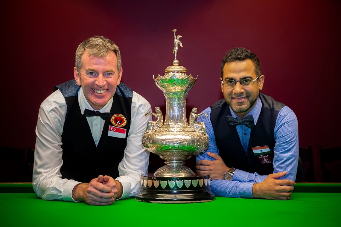 Peter Gilchrist and Sourav Kothari with the historic John Roberts trophy