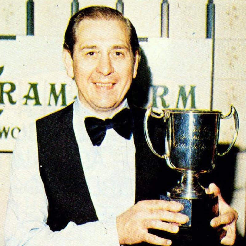 Rex Williams with the World Professional Billiards Championship trophy