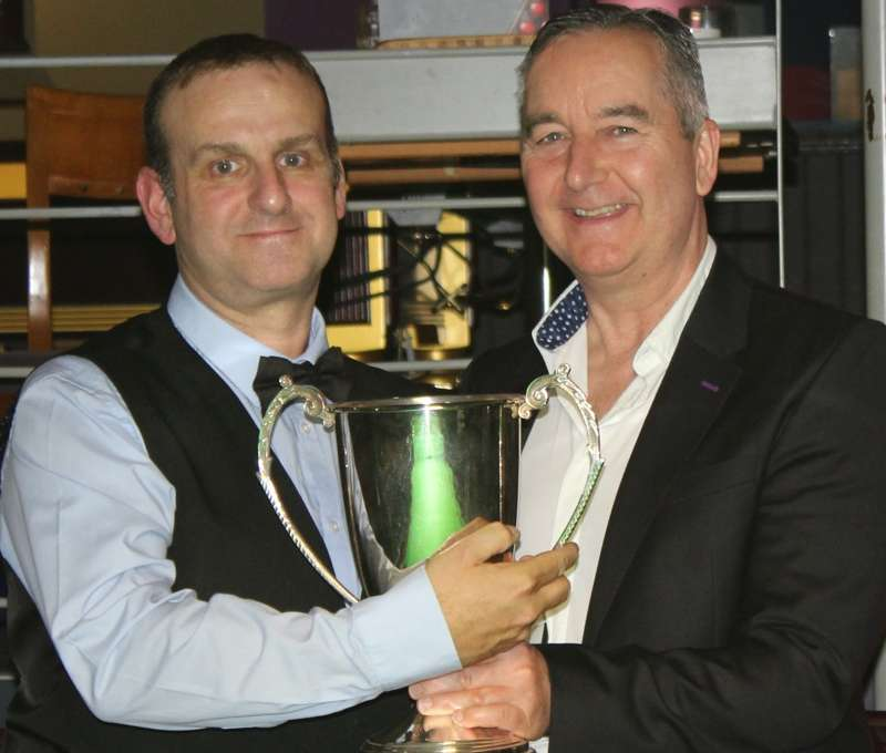 David Causier receives the Jim Williamson Trophy from Ian Williamson